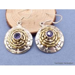 Boucles d'oreilles Spirales deux tons en Iolite Pendentifs pierres naturelles f203.5