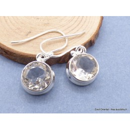 Boucles d'oreilles rondes Cristal de roche facetté Boucles d'oreilles en pierres CZ82.2