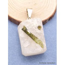 Pendentif rectangulaire véritable Emeraude sur Quartz Pendentifs pierres naturelles PU22.3