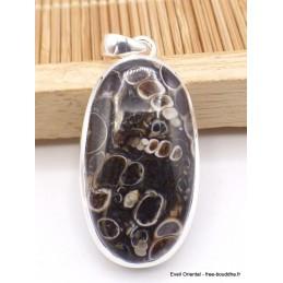 Pendentif Jaspe Turitelle Tortue oval Pendentifs pierres naturelles CZ11.3