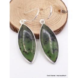 Boucles d'oreilles Jade Néphrite forme marquise Bijoux en Jade CZ26.4