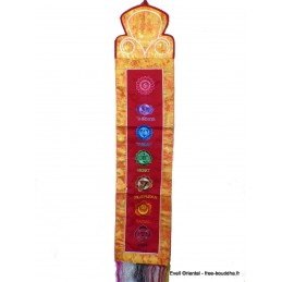 Tenture tibétaine 7 chakras safran rouge TEN7C1