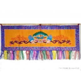 Tenture tibétaine Mahakala Safran fond bleu NMAHA2