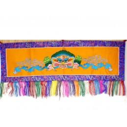 Tenture tibétaine Mahakala Safran turquoise NMAHA3