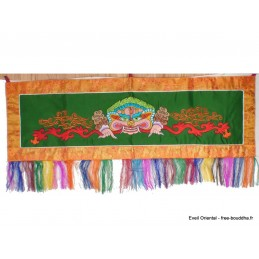 Tenture tibétaine Mahakala verte rouge NMAHA7