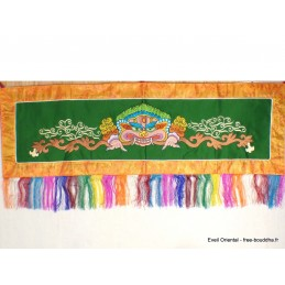 Tenture bouddhiste Mahakala verte doré NMAHA8