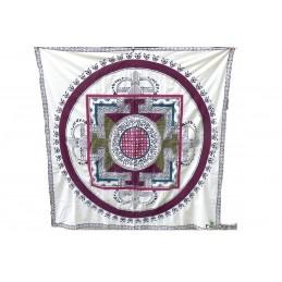 Nappe tibétaine en coton brodé bordeau kaki NTK3