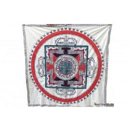 Nappe tibétaine en coton brodé bordeau rouge NTK4