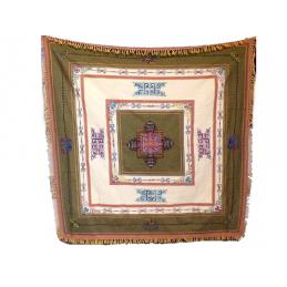 Nappe tibétaine brodée du dorjé Kaki Ecru NT3