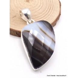 Pendentif Agate noire à bandes asymétrique facetté Pendentifs pierres naturelles XV3.3