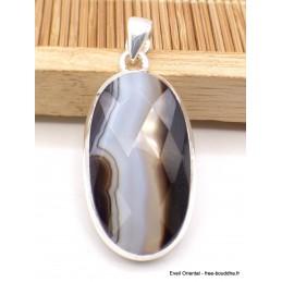 Pendentif Agate noire à bandes oval facetté Pendentifs pierres naturelles XV3.4