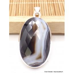 Pendentif Agate noire à bandes ovale facettée Pendentifs pierres naturelles XV3.6