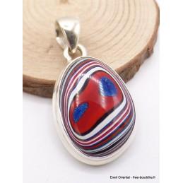 Pendentif Fordite Agate Detroïte oval rouge bleu Pendentifs pierres naturelles XV17.7
