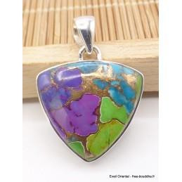 Pendentif en Turquoise tricolore triangulaire Pendentifs pierres naturelles XV1.4