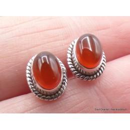 Clous d'oreilles Grenat forme ovale Boucles d'oreilles en pierres PU114.1