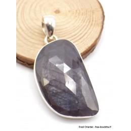 Grand Pendentif Saphir noir africain facetté asymétrique Pendentifs pierres naturelles XV34.2
