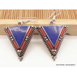 Boucles d'oreilles ethniques tibétaines triangulaires Boucles d'oreilles tibétaines LBOT23