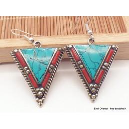 Boucles d'oreilles ethniques tibétaines triangulaires turquoise Boucles d'oreilles tibétaines LBOT24