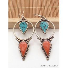 Boucles d'oreilles tibétaines longues Boucles d'oreilles tibétaines LBOT25