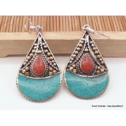 Boucles d'oreilles tibétaines goutte Boucles d'oreilles tibétaines LBOT26