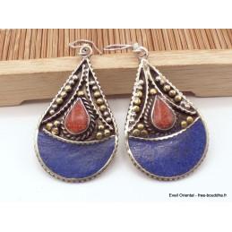 Boucles d'oreilles tibétaines couleur lapis lazuli Boucles d'oreilles tibétaines LBOT27