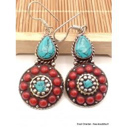 Boucles d'oreilles tibétaines pierres fantaisie Boucles d'oreilles tibétaines LBOT28