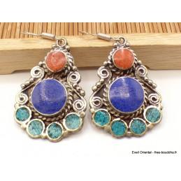 Boucles d'oreilles tibétaines pendantes pierres fantaisie Boucles d'oreilles tibétaines LBOT29