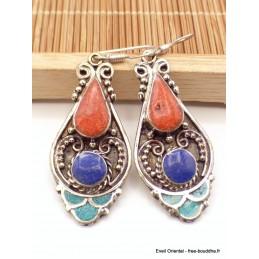 Boucles d'oreilles tibétaines goutte pierres fantaisie Boucles d'oreilles tibétaines LBOT30