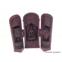 Temple triptyque bouddhiste de voyage rouge TEM1.2
