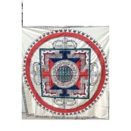 Nappe tibétaine en coton brodé rouge bleu NTK5