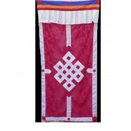 Tenture bouddhiste Noeud sans fin en soie rouge TTS1