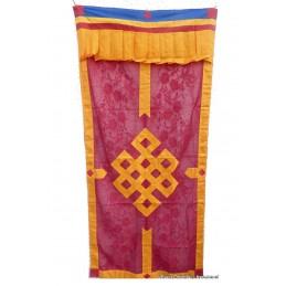 Tenture bouddhiste Noeud sans fin en soie rouge safran TTS1.1