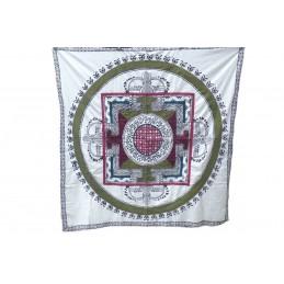 Nappe tibétaine en coton brodé écru kaki bordeau NTK6