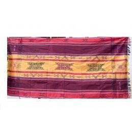 Nappe tibétaine chemin de table bordeau safran CHET2