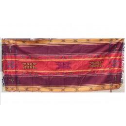 Nappe tibétaine chemin de table bordeau rouge CHET3