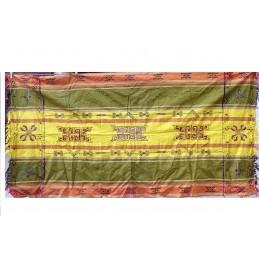 Nappe tibétaine chemin de table kaki orange jaune CHET1