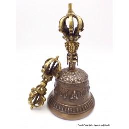 Cloche tibétaine et dorjé 8 branches 18 cm DOVAJ25