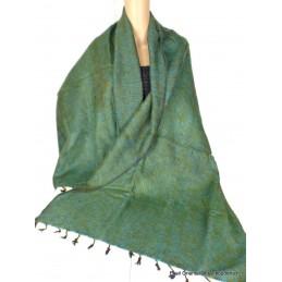 Châle ethnique laine de Yak vert olive turquoise CPLY122