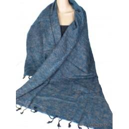 Châle ethnique laine de Yak bleu chiné rose Pashminas Etoles Echarpes CPLY129
