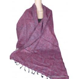 Châle ethnique laine de Yak bordeau bleu CPLY132