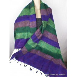 Châle laine de Yak violet vert à rayures CPLY134