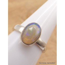 Bague Opale Ethiopienne facettée bleu rose taille 56/57 Bijoux en Opales AW4