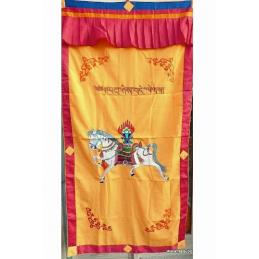 Tenture tibétaine bouddhiste Cheval Lungta jaune d'or Tentures tibétaines Bouddha TEN LB16