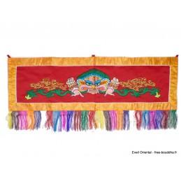 Tenture tibétaine Mahakala rouge contours jaune Tentures tibétaines Bouddha NMAHA1