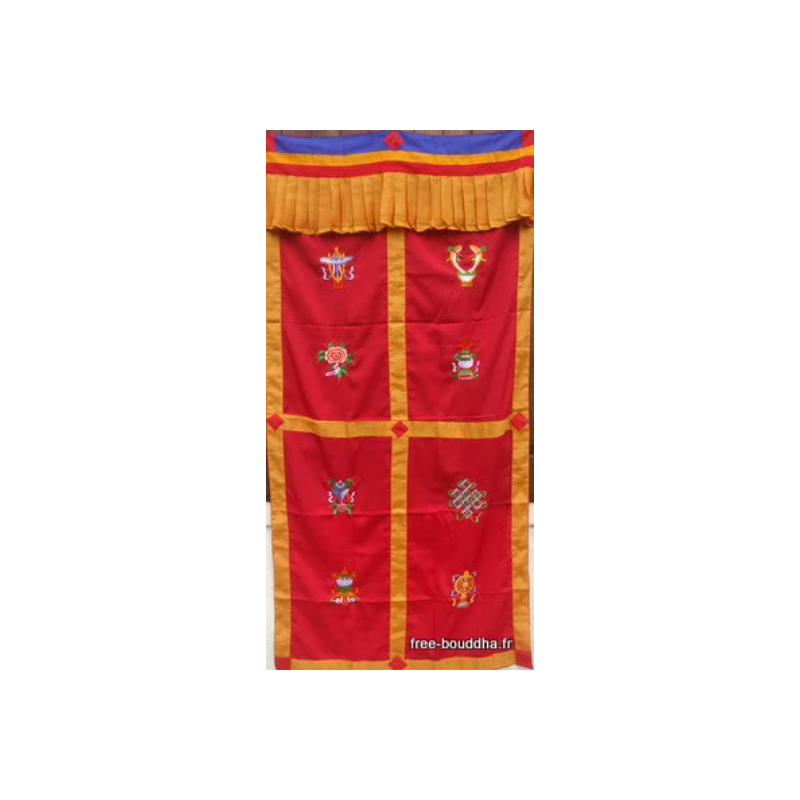Tenture tibétaine 8 signes auspicieux Rouge bordeau Tentures tibétaines Bouddha ten sa6