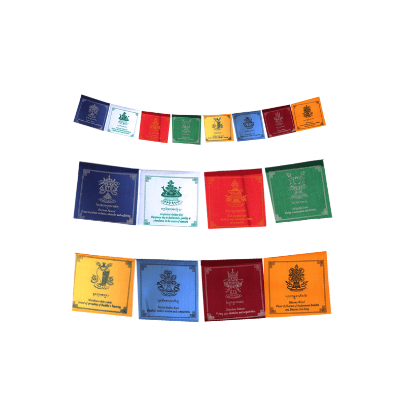 Drapeaux tibétains 8 signes auspcieux Drapeaux tibétains DRAT6