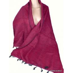 Châle laine de yach bordeau framboise noir Pashminas Etoles Echarpes CPLY46