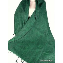 Châle ethnique laine de Yak Vert olive Nos Châles CPLY119