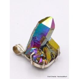 Gros pendentif Cristal de Roche Aura Pendentifs pierres naturelles AW5
