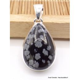 Pendentif Obsidienne Flocons de neige forme goutte Pendentifs pierres naturelles AW9